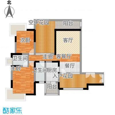新世纪星城三期112.51㎡C3单数层户型2室1厅2卫1厨
