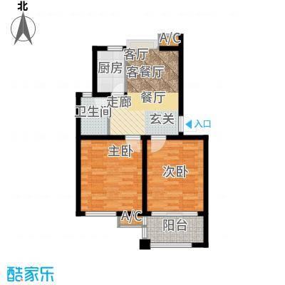 阳澄人家61.00㎡一期标准层户型2室2厅1卫X