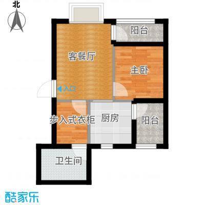 金田花园花域48.00㎡19栋标准层A1户型1室1厅1卫