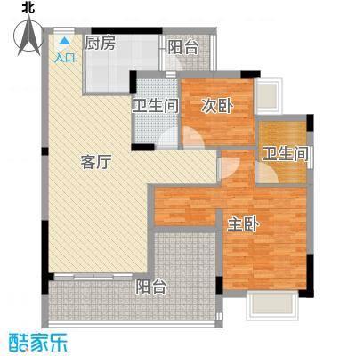 日出观山A2栋标准层01单位户型2室1厅2卫1厨