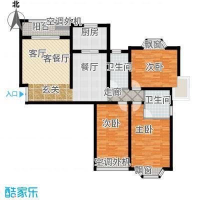 大名城123.00㎡N1户型57#、59#、60#楼2房2厅2卫123-128平米户型2室2厅2卫