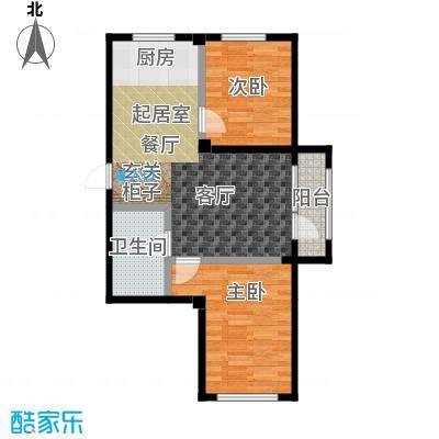 中拥塞纳城M户型两室两厅一卫,71.89平米户型