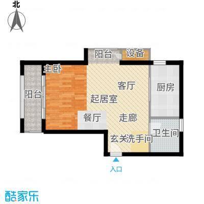 玫瑰园54.20㎡13#楼 D户型 1室2厅1卫户型1室2厅1卫