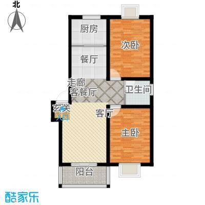 攀华未来城二期2-3、5-7、41号楼标准层A2号房户型2室1厅1卫1厨
