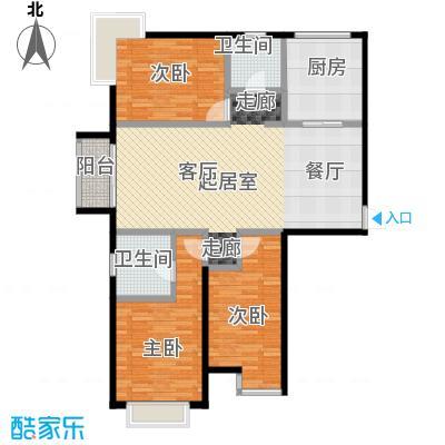 北京城建・世华泊郡127.00㎡13号楼H2户型3室2卫1厨