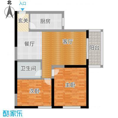 百欣花园90.58㎡E户型 两室两厅一卫户型