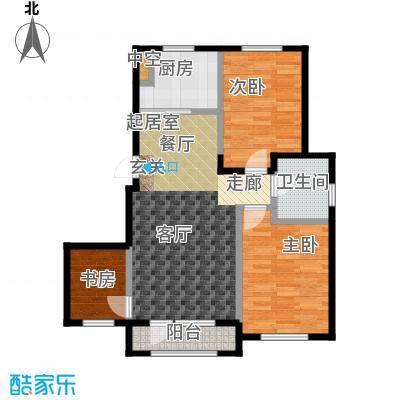 中拥塞纳城E户型两室两厅一卫,90.90-91.29平米户型