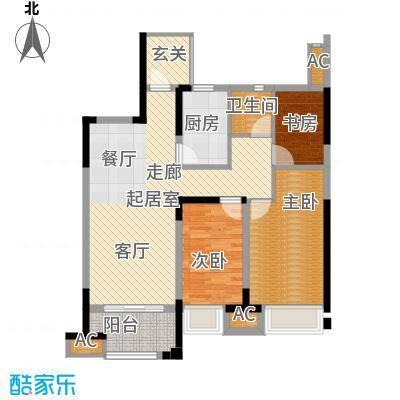 金科天籁城93.00㎡3室2厅1卫户型3室2厅1卫-T