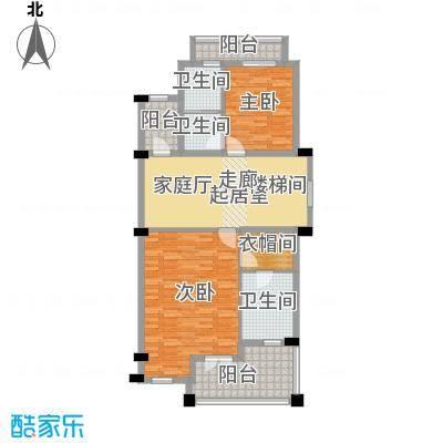 保亿丽景山92.00㎡联排别墅A地上二层户型2室3卫