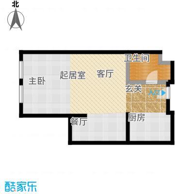 想想大厦74.00㎡N户型-01 一室一厅一卫74平米户型图户型1室1厅1卫