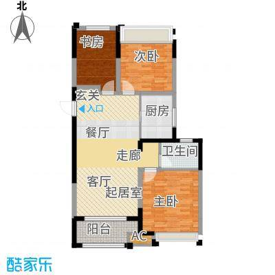 金科天籁城95.00㎡3室2厅1卫户型3室2厅1卫-T