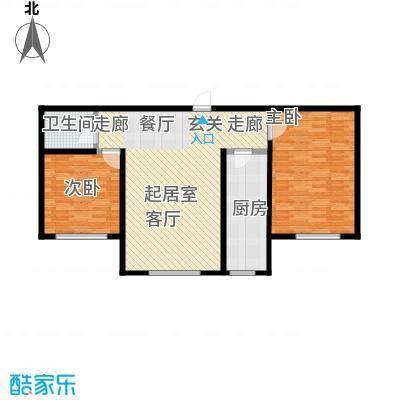观澜国际109.13㎡L户型两居室户型2室1厅1卫CC