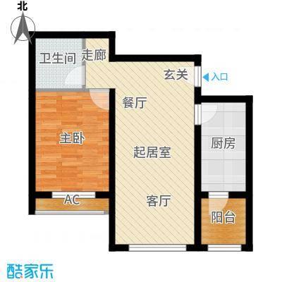 东方晨曲花苑59.22㎡E户型1室2厅1卫59.22QQ
