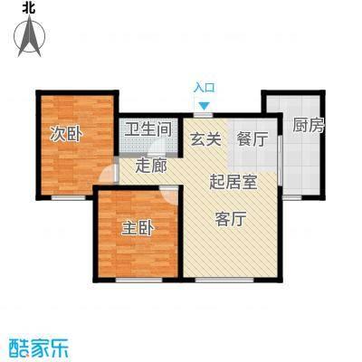 观澜国际94.94㎡H二居室户型2室2厅1卫CC