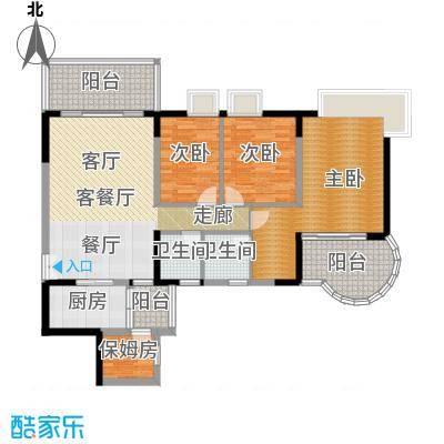 翠亨豪园123.98㎡11栋户型3室1厅2卫1厨