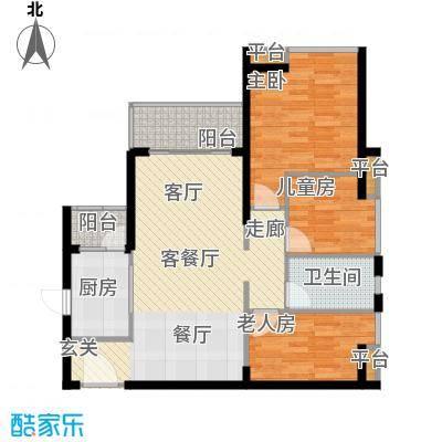 悦时代花园A座B座02单元户型3室1厅1卫1厨