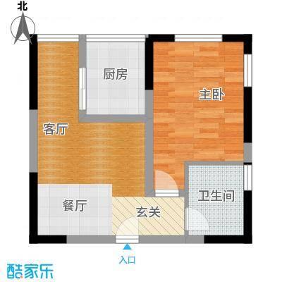 百欣花园50.48㎡C户型一室两厅一卫户型1室2厅1卫