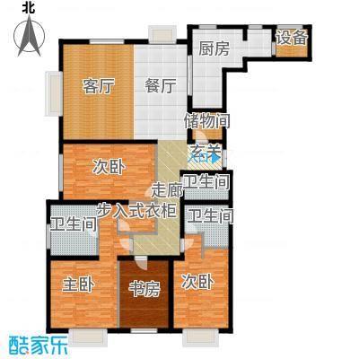 天津大都会160.00㎡C系-A户型 三室两厅两卫户型3室2厅2卫