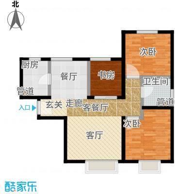 华润橡树湾90.00㎡三期小高标准层户型3室2厅1卫