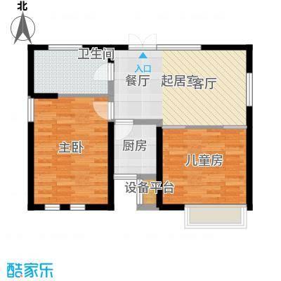 艺术家公寓90.00㎡CD座90平米两室一厅一卫户型2室1厅1卫