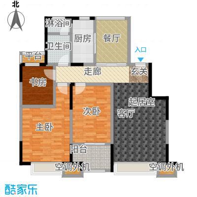 华发新城113.49㎡K1标准层 三室二厅一卫户型3室2厅1卫