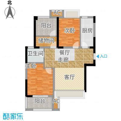 锦绣天地85.19㎡7#标准层左一A户型85.19平米户型3室2厅1卫