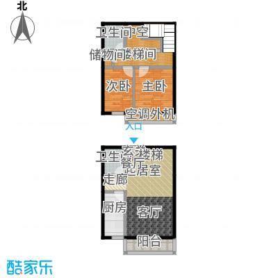 东润财智公馆102.20㎡两室两厅两卫102.20平米户型2室2厅2卫