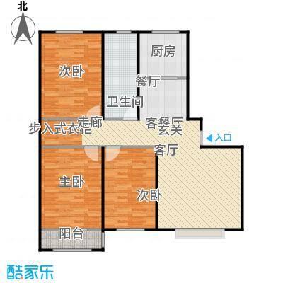丽景盛园111.00㎡B1户型 3室2厅1卫 111平户型3室2厅1卫