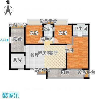鸥鹏壹�公�112.49㎡A2高层,三室两厅双卫,套内约95.21平米户型3室2厅2卫