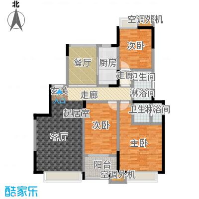 华发新城118.82㎡G3b 三室二厅二卫户型3室2厅2卫