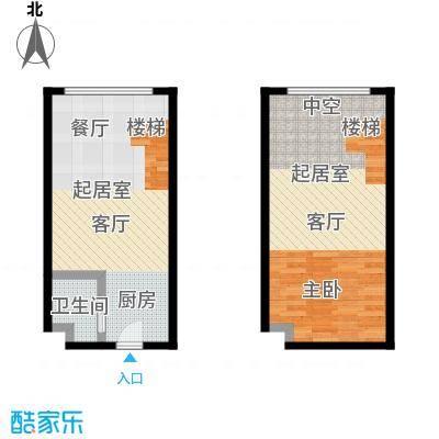 明翰国际43.48㎡明翰国际LOFT公寓 A1户型图 1室1厅1卫43.48平户型1室1厅1卫