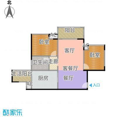 中海花城湾A6栋04单元户型1厅1卫1厨
