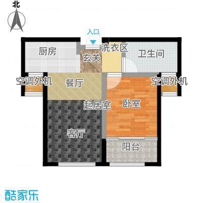 朗庭山58.07㎡B海阳香寓 一室一厅一卫户型1室1厅1卫