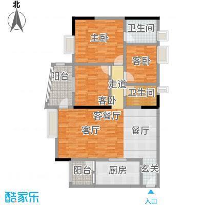 盛和新都会1栋标准层02户型3室1厅2卫1厨