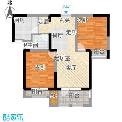 荣盛楠湖郦舍79.00㎡D1栋B户型2室2厅1卫