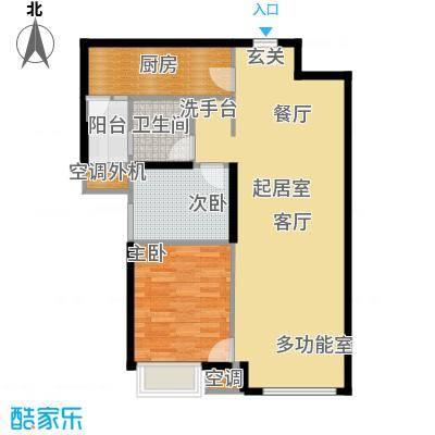 华业玫瑰东方89.00㎡玫瑰人生户型 2室2厅1卫1厨88㎡户型