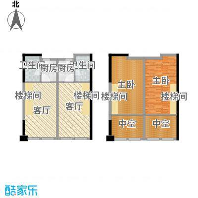 邦泰国际公寓84.49㎡506单元复式南向户型2室2厅2卫2厨