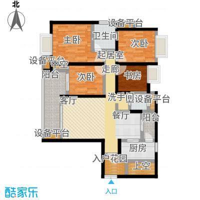 鸥鹏壹�公�127.20㎡C1洋房,四室两厅双卫,套内约108.51平米户型4室2厅2卫