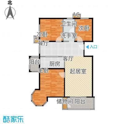 国信浅山F1户型三室二厅一卫户型