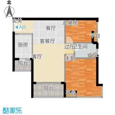 悦时代花园A座B座03单元户型2室1厅1卫1厨