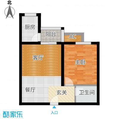 百欣花园61.10㎡一室两厅一厨一卫户型1室2厅1卫