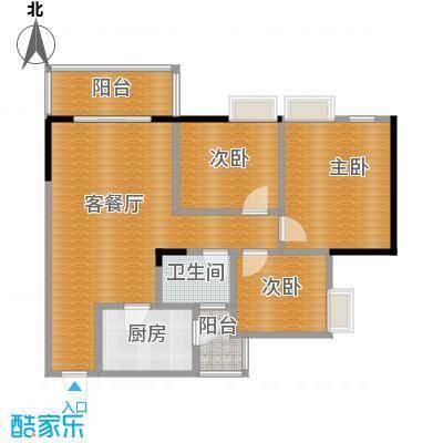 渝开发上城时代75.00㎡B1a户型3室1厅1卫