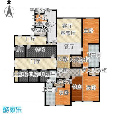 万达公馆328.00㎡2号楼D户型四室二厅四卫户型4室2厅4卫