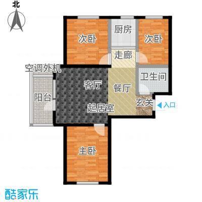 天鸿展视界89.12㎡三室两厅一卫户型3室2厅1卫