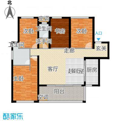 万科金域华府三期158.00㎡1-5号楼标准层03户型4室2卫1厨