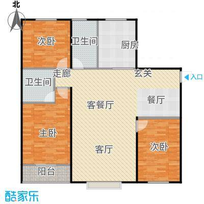 丽景盛园120.00㎡D2户型 3室2厅2卫 120平户型3室2厅2卫
