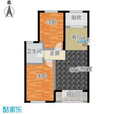 中拥塞纳城O户型两室两厅一卫,77.45平米户型
