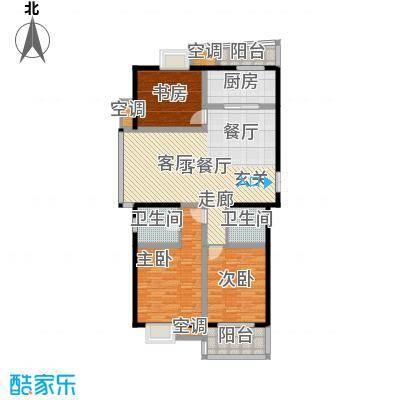中意宝第123.00㎡21#楼A户型 三房两厅两卫 123㎡户型3室2厅2卫