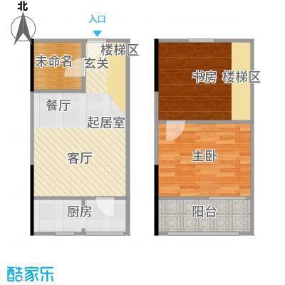 广天国际公寓43.83㎡C户型2室2厅1卫