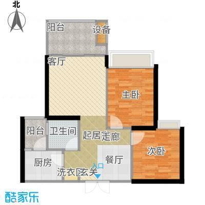 两江国际75.00㎡D户型两室两厅一卫75平米户型2室2厅1卫